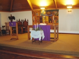 The communion table at St James' Church