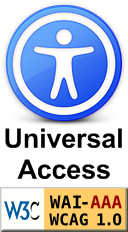 Universal Access Symbol (man in circle) and W3C triple-A conformance Icon