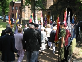 Veterans' procession entering Aston Parish Church