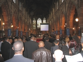 Funeral in crowded church